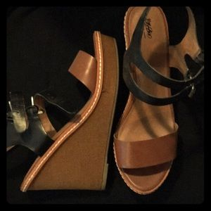 Black and Tan wedge sandals
